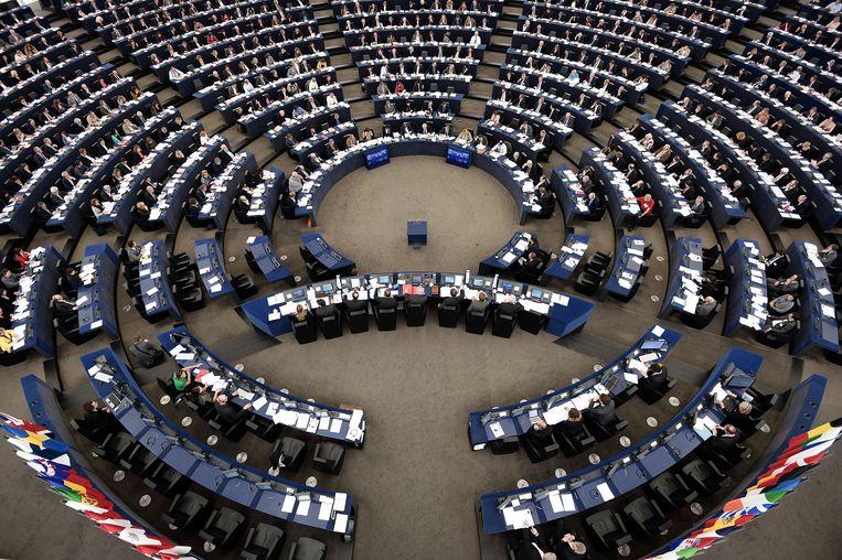 De plenaire zittingszaal in Straatsburg.