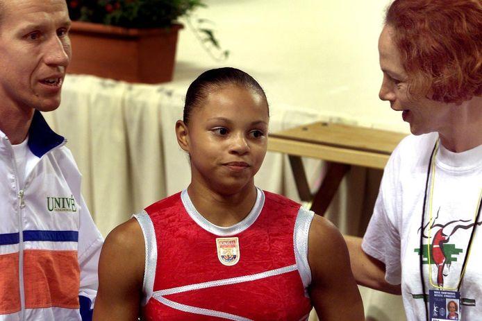 Gabrielle Wammes tijdens het WK turnen in Gent, in 2001.