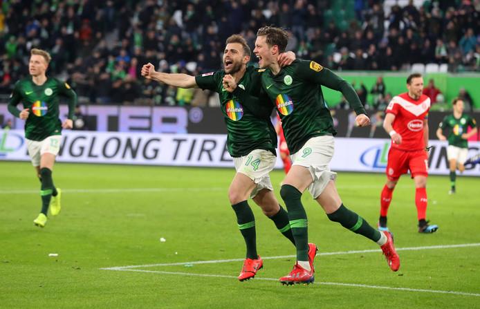 Wout Weghorst was tegen Fortuna Düsseldorf goed voor drie doelpunten en twee assists.