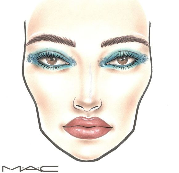 Festival Look 3: Use the Rockin' Rebel Palette with blue and green shades for this look. Start by applying Chromagraphic pencil Hi-Def Cyan around the entire eye. Blend outward and into the crease to create a soft smokey eye effect. Denim Genes is then applied on top with brush #239. Use a tapping motion for maximum intensity. Bikers & Babes eyeshadow is blended into the crease with brush #217. Let It Rock is an opalescent highlighter that is used under the brow, on the temples, nosebridge and the tip of the lip. Use brush #242 to apply Mixing Medium Waterbase on the inner and outer corner of the eyes. Place glitter Teal Hologram on top. Use a gentle dabbing motion to minimize fallout. Lots of mascara is applied on the top and bottom lashes to create an open look. Line the lips with lippencil Boldly Bare. Apply it on the entire lip for a longer wear and maximum intensity. Lipstick Modesty is finally applied on top for a satin finish and comfortable feel.