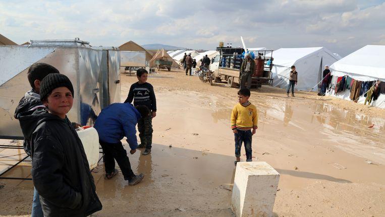 Een tentenkamp bij de Syrisch-Turkse grens Beeld ap