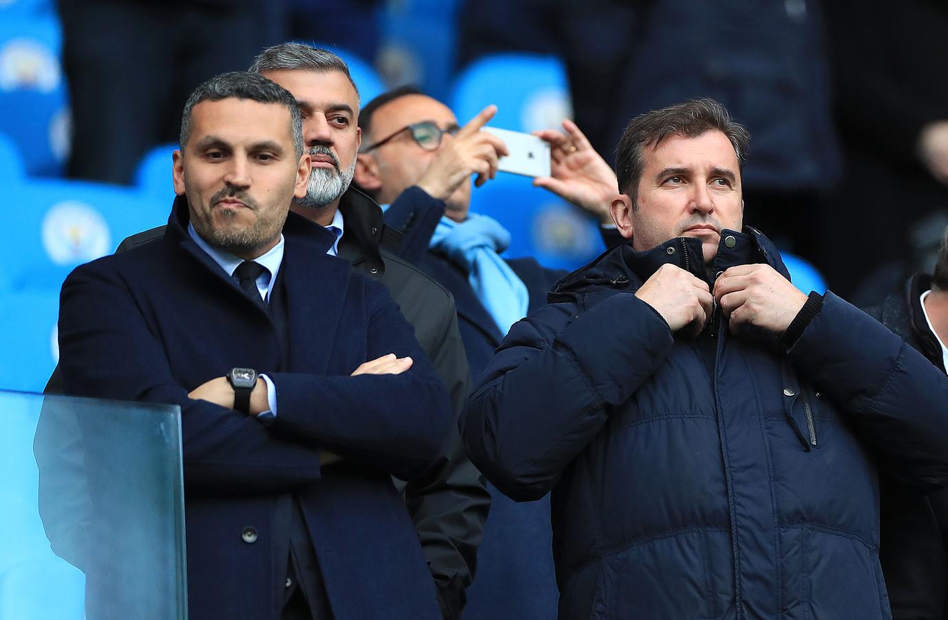 Manchester City-voorzitter Khaldoon Al Mubarak en directeur Ferran Soriano.