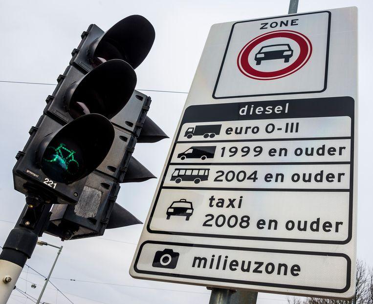 Een bord markeert de milieuzone in Amsterdam.  Beeld ANP