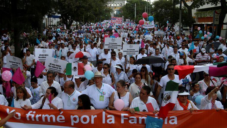 Honderdduizenden Mexicanen gingen de straat op om te demonstreren tegen het homohuwelijk. Beeld REUTERS
