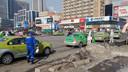 Taxi's in Anshan worden gecontroleerd en ontsmet.