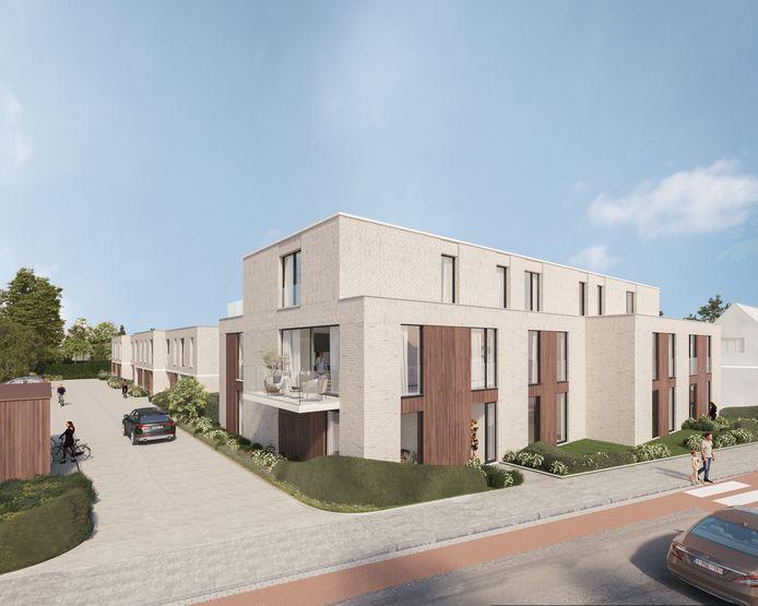 Een zicht vanuit de Kapelleriestraat op het nieuwe project. Aan de linkerkant zie je de doodlopende Maria Ampestraat
