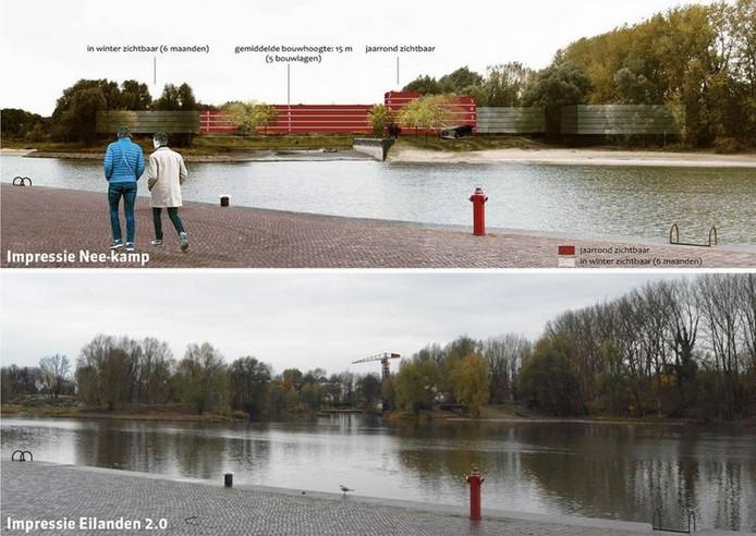 De afbeelding uit de advertentie van de Burgercoalitie Stadsblokken-Meinerswijk (boven) klopt niet, zegt KondorWessels Projecten; de onderste afbeelding laat zien hoe het echt moet worden.