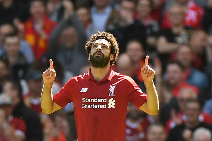 Mohamed Salah viert zijn treffer tegen Brighton.