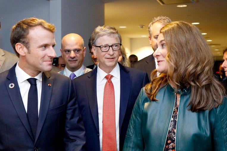 Melinda Gates,  Bill Gates en president Macron, van Frankrijk (links). Beeld Chris Farber/Getty Images for Ga