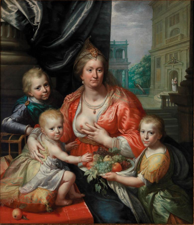 Onder meer dit schilderij uit de lopende tentoonstelling van het Rijksmuseum over familieportretten werd door Facebook geweigerd. Het gaat om een portret van gravin Sophia, de vrouw van stadhouder Ernst Casimir van Nassau van Friesland. Ze had negen kinderen. Vijf daarvan zijn op jonge leeftijd overleden.