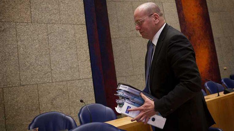 Staatssecretaris van Veiligheid en Justitie Fred Teeven tijdens het debat in de Tweede Kamer over de zaak-Dolmatov. Beeld anp