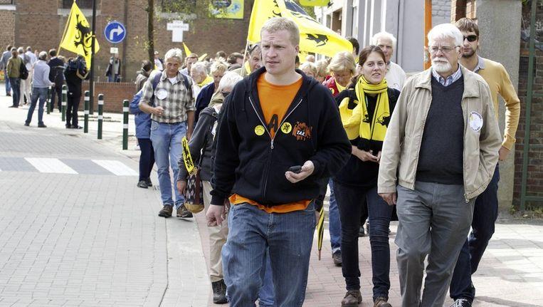 Het TAK protesteert in Sint-Genesius-Rode.