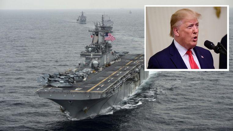 De Iraanse drone zou het Amerikaanse amfibie-aanvalsschip USS Boxer hebben benaderd op een afstand van minder dan een kilometer. Inzet: VS-president Donald Trump.
