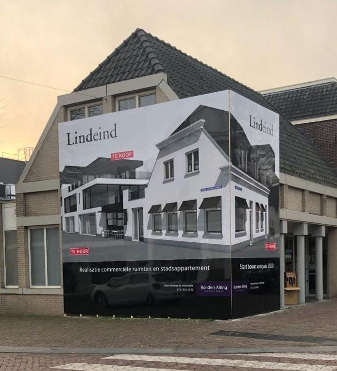 Oude pand van ABN AMRO, hoek Dorpsstraat en De Lind in Oisterwijk, wordt verbouwd tot commerciële ruimtes en een stadsappartementt