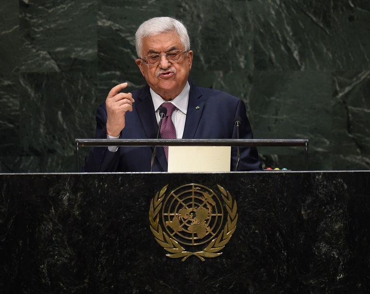 Palestijnse president Mahmoud Abbas spreekt tijdens de Algemene Vergadering van de VN in september 2014. Beeld afp