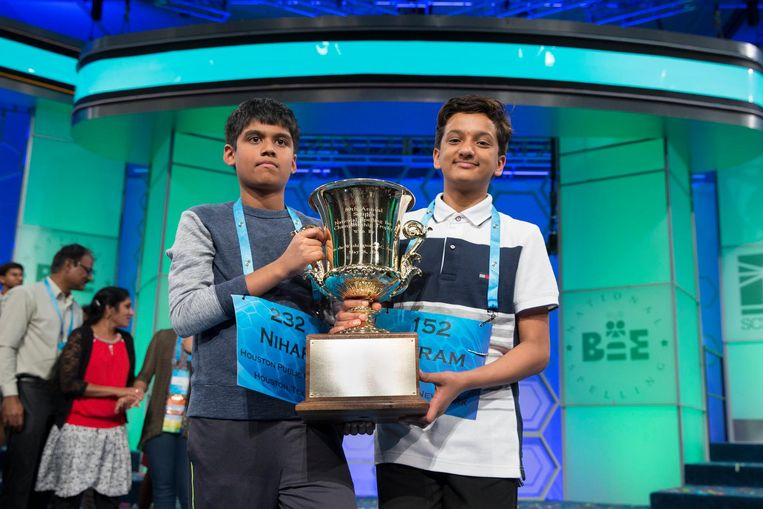 Winnaars van de National Spelling Bee 2016 in de VS. Beeld epa