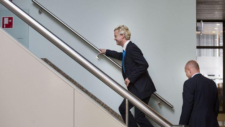 PVV-leider Geert Wilders afgelopen woensdag in het Tweede Kamergebouw Beeld