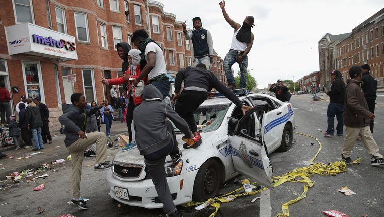 Protest in Baltimore na de dood van Freddy Gray, een arrestant die overleed. Beeld null
