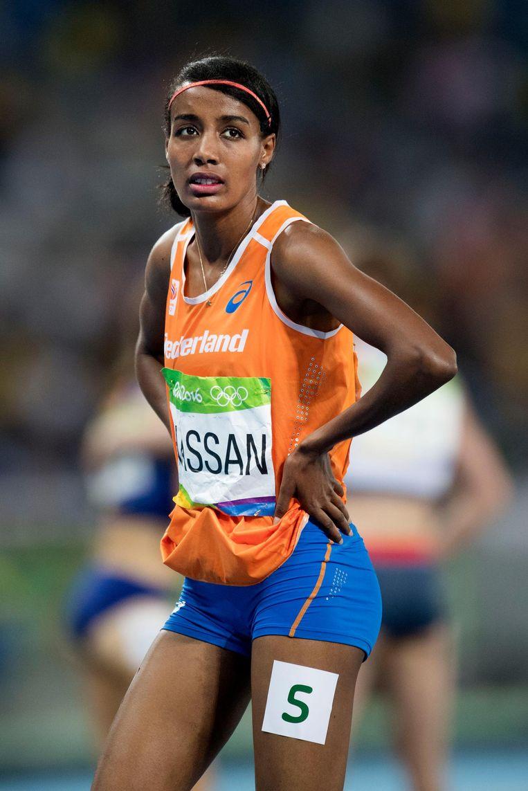 Sifan Hassan na de finale van 1.500 meter Beeld anp