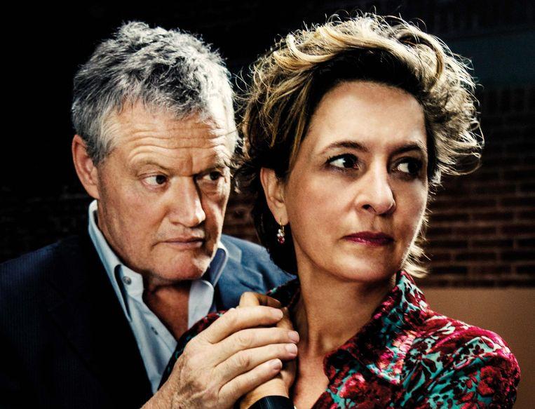 Porgy Franssen en Jacqueline Blom moeten als rouwende ouders het verdriet een gezicht geven.  Beeld Piek