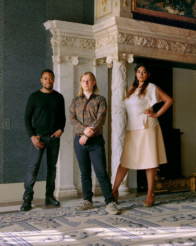 Van links naar rechts: Neo Matloga, Sam Hersbach en Raquel van Haver.  Beeld Gilleam Trapenberg