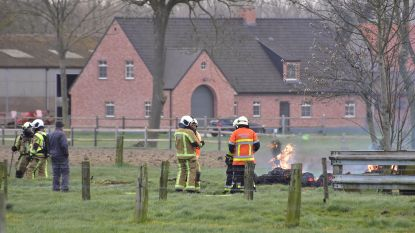 Boer rijdt kar met brandend stro naar veilige plek, brandweer komt blussen