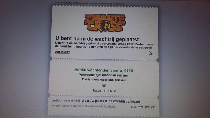 De melding die de Zwarte Cross geeft bij een poging een kaart te kopen. Foto: DG