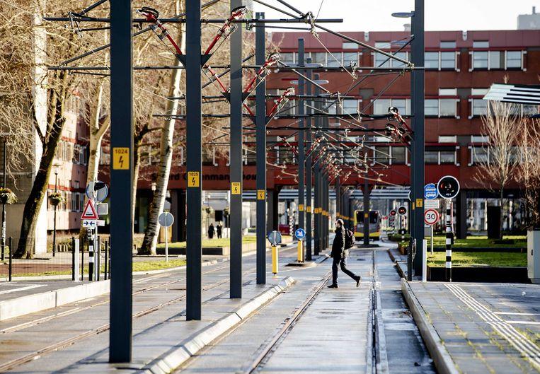 Stuk van het traject van de Uithoflijn, de nieuwe tramlijn tussen Utrecht Centraal en De Uithof.  Beeld ANP