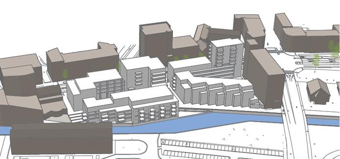 Het plan voor het nieuwe complex, gezien vanaf de kant waar de Nieuwe Mark moet lopen. De Markendaalseweg loopt - op deze artist impression - aan de achterkant van het complex.
