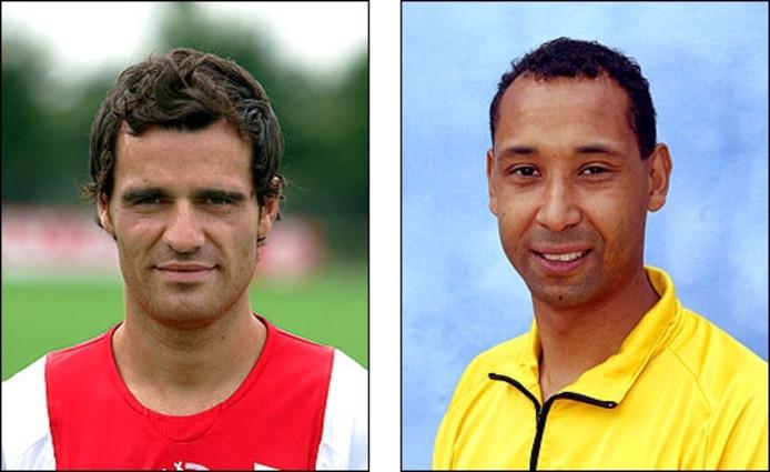 Kenneth Perez van Ajax (l.) en assistent-scheidsrechter Nicky Siebert. Foto's ANP