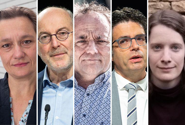 Erika Vlieghe, Pierre Van Damme, Marc Van Ranst, Steven Van Gucht en Lize Raes.