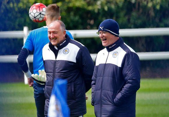 Steve Walsh (Links) met toenmalig Leicester-trainer Claudio Ranieri.