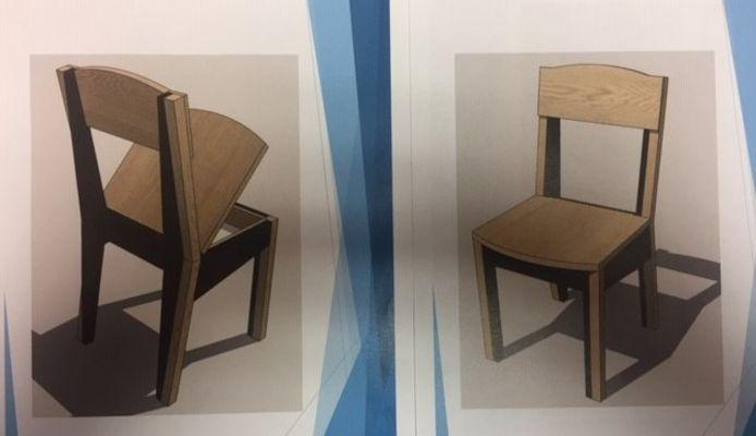 In de stoel van Thijs Vriezekolk kan iemand zijn mobiele telefoon opladen. Maar alléén als je er op zit. En de telefoon dus bewust even niet gebruikt.