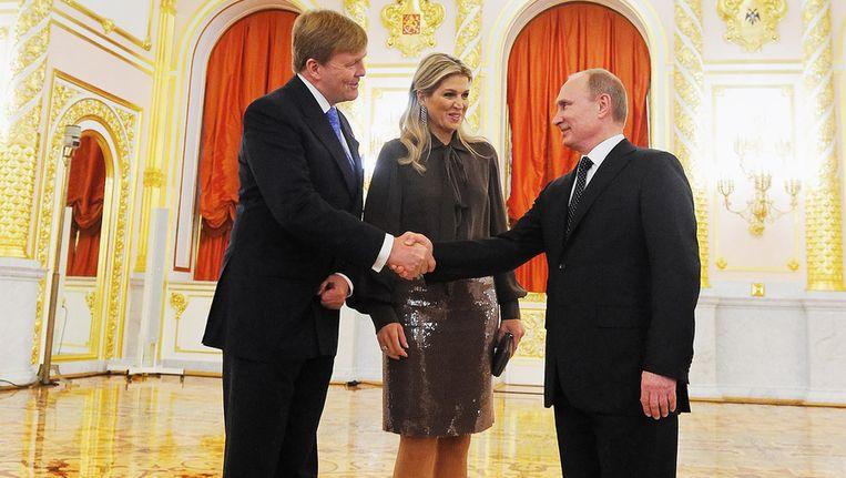 Koning Willem-Alexander en koningin Maxima komen aan in het Kremlin voor een ontmoeting met president Vladimir Poetin. Het tweedaags koninklijk bezoek vindt plaats in het kader van het Nederland-Rusland jaar. Beeld getty