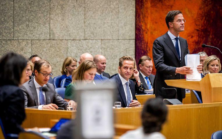 Premier Mark Rutte begin november tijdens het debat in de Tweede Kamer over de regeringsverklaring. Beeld ANP