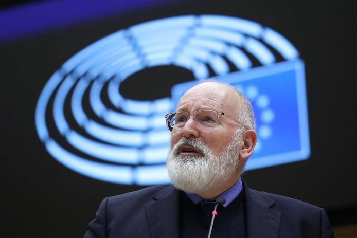 'Klimaatpaus' Frans Timmermans tijdens de presentatie van de zogenaamde Green Deal in december in Brussel.