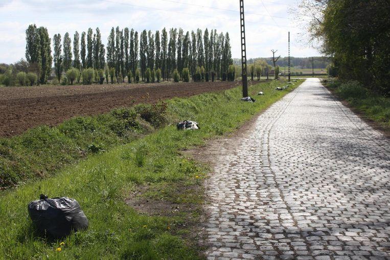 In de Herlegemstraat liggen over een strook van zo'n 300 meter 30 zakken vol afval verspreid.
