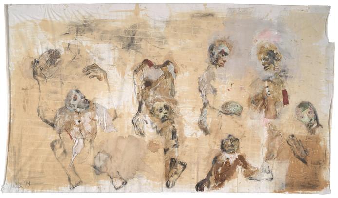Een van Mitya's werken van 'The world of Mitya' in het The Walled Off Hotel in Bethlehem.