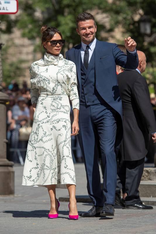 David et Victoria Beckham au mariage de Sergio Ramos et Pilar Rubio, le 15 juin.