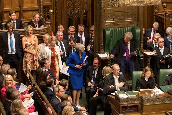 Voorzitter John Bercow in het Lagerhuis, waar Mays deal tot drie keer toe wordt weggestemd.