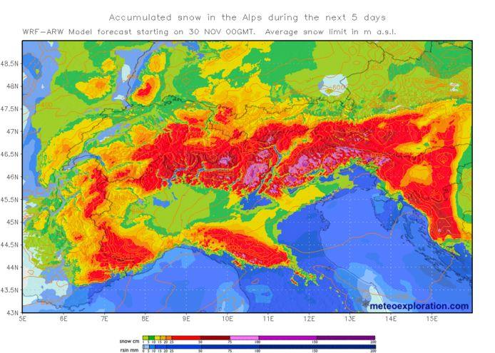 Lokaal valt de komende dagen tot anderhalve meter sneeuw in de Alpen.
