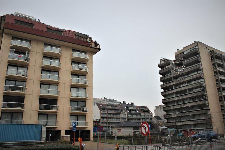 Residentie Morgenzon (links) en Residentie Mosselbank (rechts) in de Franslaan in Nieuwpoort.