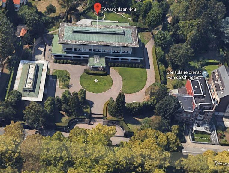 Het terrein van de Chinese ambassade in Brussel.