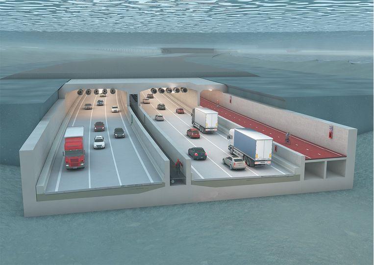 De nieuwe Scheldetunnel is 1,8 kilometer lang, heeft drie rijstroken in elke richting en een afzonderlijke koker voor fietsers en voetgangers.
