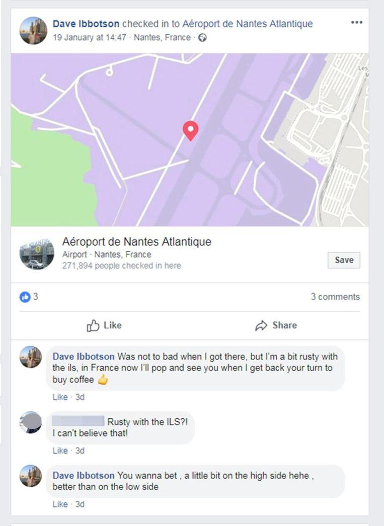 De knullige post van de piloot op Facebook.