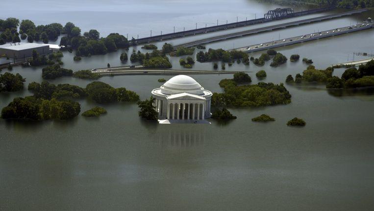 Een illustratiebeeld van hoe de stijging van het oceaanwater het Jefferson Memorial in Washington onder water zou zetten.