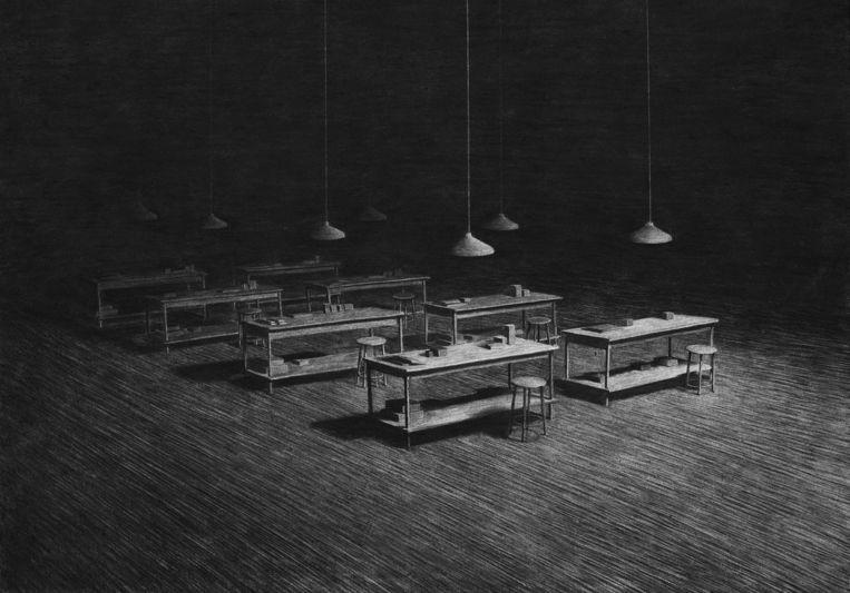 Levi van Veluw: The Factory, 2014 (houtskooltekening). Beeld -