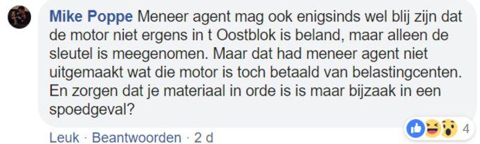 Reactie op Facebookbericht Politie Zwolle
