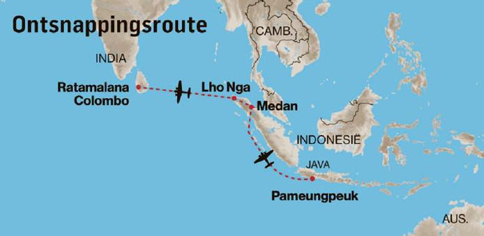 """""""Pulk"""" Pelder vluchtte zonder kaart en goed werkend kompas met zijn Lockheed vanuit Java. Via Sumatra kwam hij terecht in Sri Lanka."""
