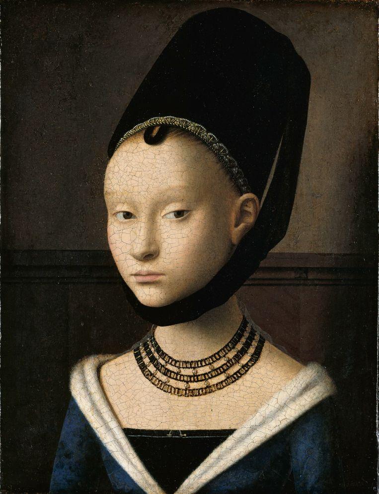 Petrus Christus, Portret van een jonge vrouw, 1470, Gemäldegalerie, Staatliche Museen, Berlijn.  Beeld TR beeld
